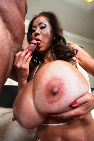 Mature housewife Minka has super huge tits oiled up for amazing titty fuck