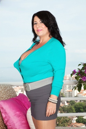 Big titted lesbian plumpers Micky Bells & Natalie Fiore hump on a balcony