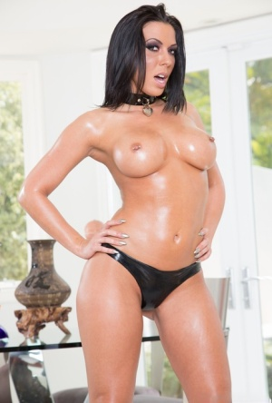 Hot pornstar Rachel Starr with big ass in latex & big tits oiled for MMF 3some 10142823