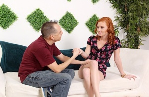 Natural redhead Alex Tanner spills jizz from her mouth after sex on a sofa 10251459