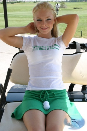 Cute blonde girl Skye Model flashes her cotton panties on the golf course 80609294