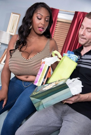 Big titted black chick Rachel Raxxx ends up naked and on top of a cock