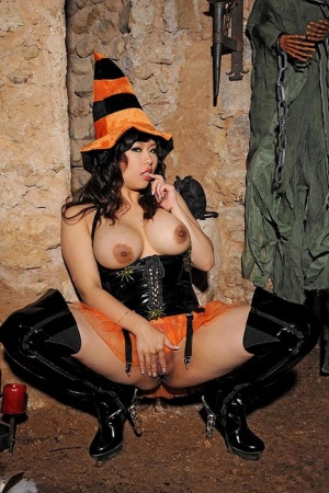 Hot Asian chick Tigerr Benson toys her pussy while wearing Halloween clothing