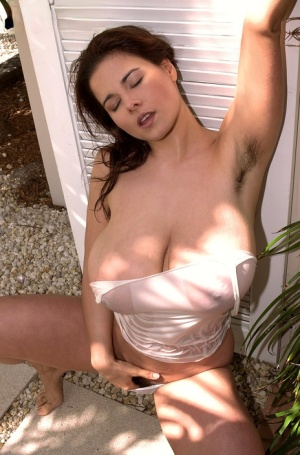 MILF pornstar Chloe Vevrier in wet white shirt with massive big tits showing