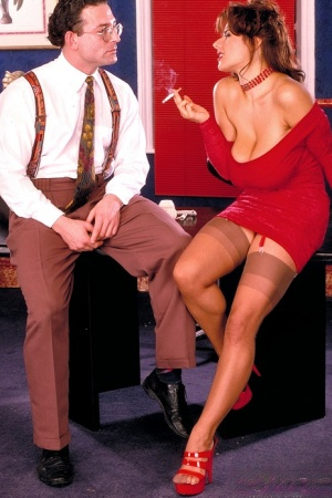 Big boobed secretary Chloe Vevrier seduces her geeky boss in a short red dress