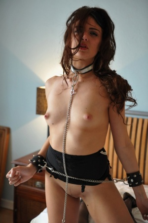 Collared brunette Lucy Blackburn sports hard nipples while struggling in cuffs 85769777