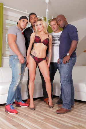 Blonde slut Brittany Lawrence gets gangbanged by white and black men 50649860