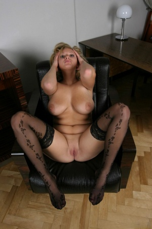 Busty blonde Malina May fingers her smooth pussy in sexy stockings 68292455