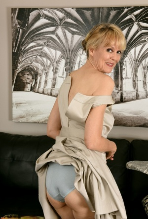 Over 30 lady Jamie Foster exposes up skirt panties before modeling naked