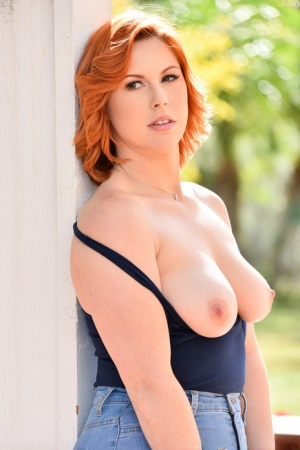 Fit redhead exposes her curvy figure in the hills before masturbating at home 16442264