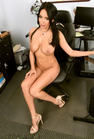 30 plus businesswoman Anissa Kate strips to her heels in her office
