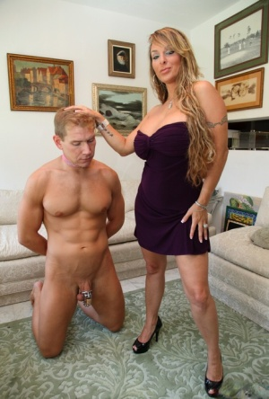 Long haired chick Holly Halston makes her submissive husband lick her pussy