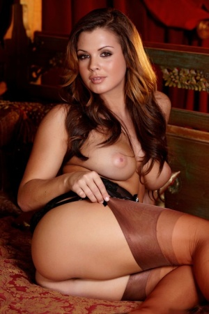 Latina model Keisha Grey showcases her trimmed pussy during a centerfold shoot