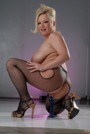 Big titted blonde Rachel Love plays with a dildo in crotchless pantyhose