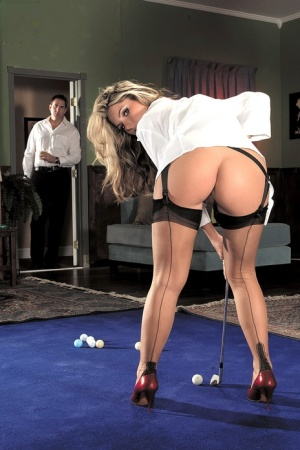 Sexy blonde Harmony touts her big butt in garters and FF nylons while putting 12036932