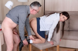 Young looking schoolgirl Emily is tricked into sex by her old teacher 94778402