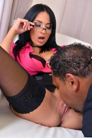 Hot MILF Anissa Kate removes her glasses during interracial anal sex