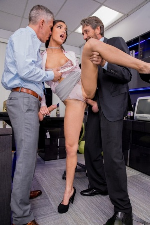 Hot law clerk Emily Willis gets double fucked at work by older lawyers