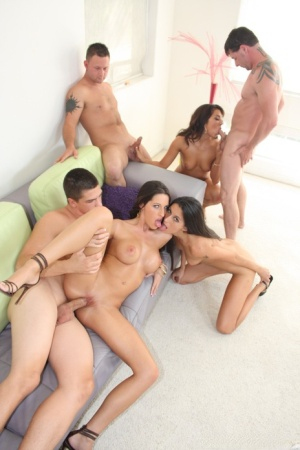 Big titted Kourtney Kane in heels gets covered in cum in sticky group sex