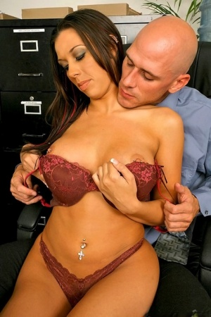 Sexy secretary bares her big tits at work before banging her co-worker 61090343