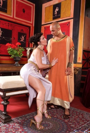 Grecian goddess Lydia St Martin gets a mouthful from her big cock servant