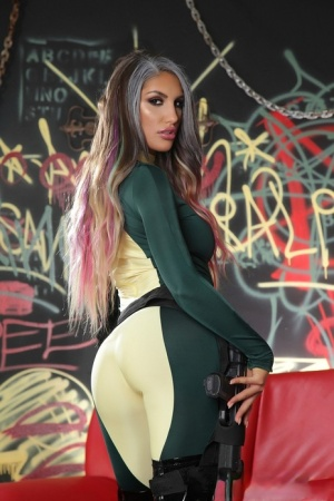 Glamour girl August Ames poses her centerfold body and spreads hot pussy