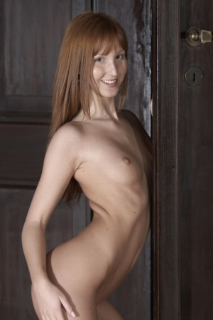 Pale redhead Baby Silver flaunts her small tits and thin body in the nude 58418474