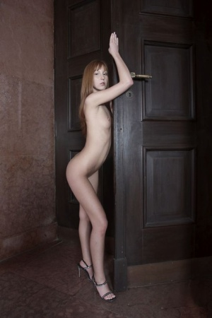Skinny young Baby Silver with small petite breasts posing naked on her knees 83131763
