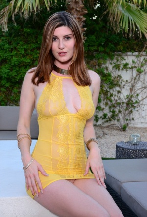 Solo model Amber Hahn hikes her short dress to expose trimmed muff outside