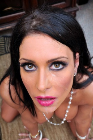 Dark-haired chick Jessica Jaymes sucks off a big cock during a POV scene 29848560