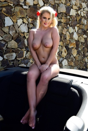 Hot blonde Lycia Sharyl exposes her curvy figure near a dry stacked stone wall 17847128