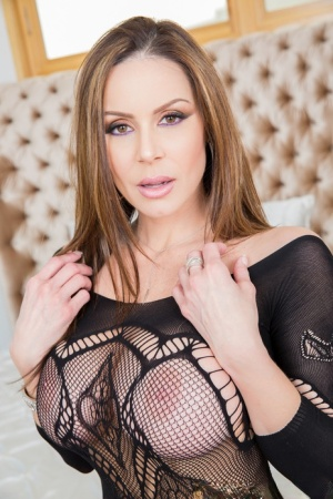 Hot MILF Kendra Lust rides a dick after modelling a crotchless bodystocking 12955521