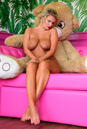British teen Lycia Sharyl uncovers her great tits next to a stuffed animal 92837751