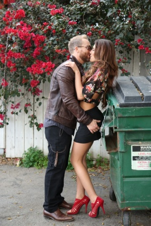 Ryan Madison and August Ames get frisky in public before fucking back at home