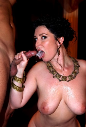 Busty brunette ends up with a mouthful of cum after fucking a married man 38620573