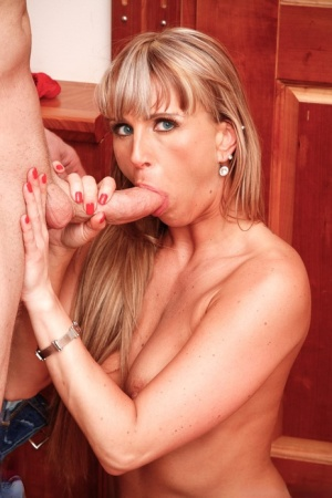Comely blonde MILF Christina Lee on her knees naked for blowjob & cum on tits