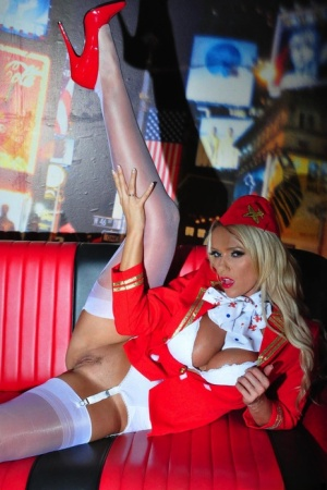 Hot blonde Lucy Zara looses her tits and snatch from flight attendant uniform