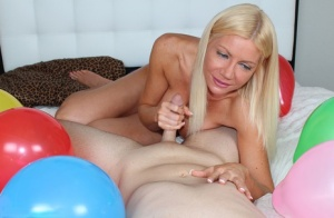 Blue eyed blond Christina Skye straddles a naked man while tugging on his cock