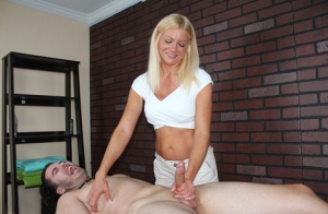Natural blonde Christina Skye denies a client from climaxing during a massage