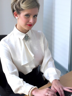 Sexy blonde secretary Elle Richie strips to stockings in vintage pinup porn 96415633