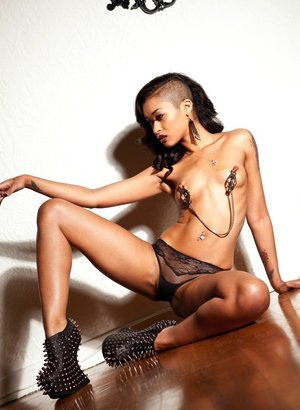 Black babe Skin Diamond goes topless in sexy underwear and funky shoes 70815147