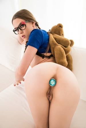 Tiny titted tattooed Alexa Nova in pigtails & glasses toying ass with dildo