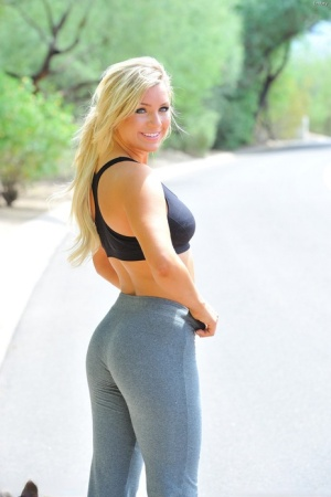 Fit blonde stunner strips out of her athletic clothes outside 54057501