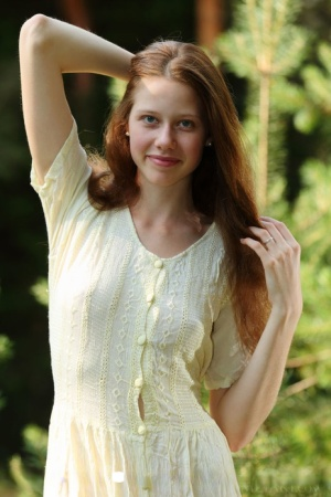 Pale girl with long red hair Nicole K gets totally naked amid saplings 32511539