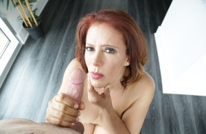Middle aged Latina woman with red hair Nicky Ferrari jerks and sucks a cock