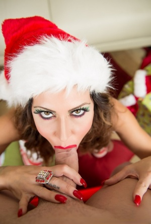 Pornstar Jessica Jaymes eats cum while after a POV blowjob in Christmas attire 27196034