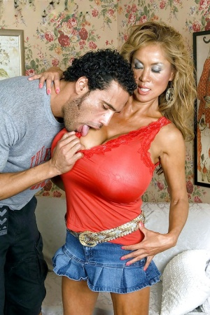 Horny mom with ginormous tits Minka stripped from miniskirt for hot banging