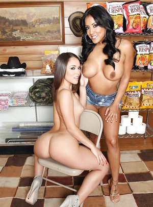 Latin hotties with shapely juggs showing off butts and pussies