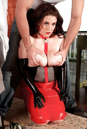 Hot lady in latex and high heels Angela White stripped and fucked