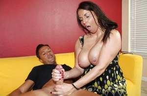 Horny MILF with big tits gets a huge cougars cock for a proper handjob